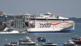 Condor Liberation leaving St Peter Port Harbour