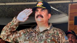In this Wednesday, Nov. 16, 2016 photo, Pakistan army chief General. Raheel Sharif salutes during a military exercise in Khairpur Tamiwali, Pakistan