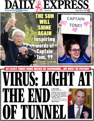 Daily Express front page, 17/4/20