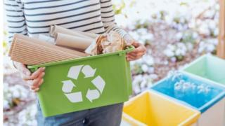 Products in recycling boxes