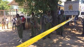 Security forces patrol scene in Mombasa where three women were killed after trying to stage an attack at the main police station