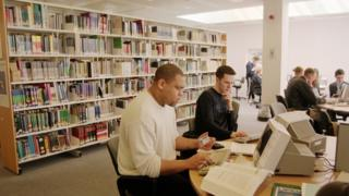 Computer users in a library