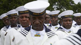 Naval officers in the grounds of the presidential palace in Kinshasa, DR Congo - Thursday 24 January 2019