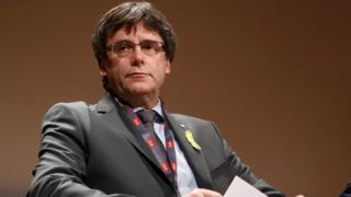 """Catalan ex-leader Carles Puigdemont attends a panel discussion titled """"Self-determination"""", at the FIFDH (International Film Festival and Forum on Human Rights), in Geneva, Switzerland on 18 March 2018."""