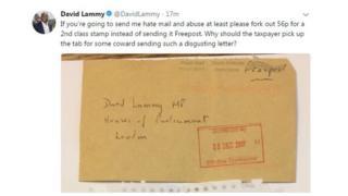 David Lammy tweet of hate mail