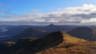 Ben Lomond looking over hills from the summit of Beinn Ime.