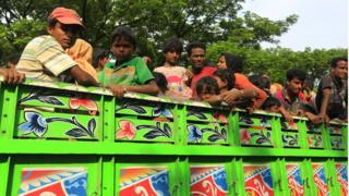 A group of Rohingya men and young boys