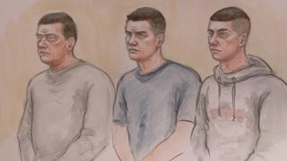 Peter Eyre with his sons Simon and Anthony Eyre at Nottingham Crown Court