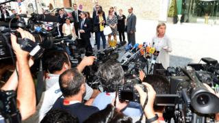 EU foreign policy chief Federica Mogherini speaks to reporters in Vienna, Austria (7 July 2015)