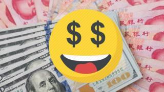 Dollar notes and Yuan notes with money eye emoji ontop.