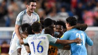 England's players celebrate