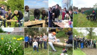 A composite image of young people working on projects with Avon and Gloucestershire Wildlife Trusts