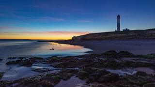 Covesea Lighthouse and Lossiemouth West Beach in Moray