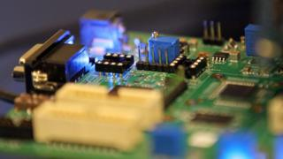 A circuit board with semiconductors on
