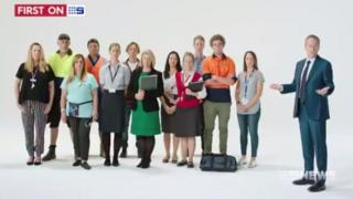 An image from the advert showing Labor leader Bill Shorten and a group of people, a majority of whom are white