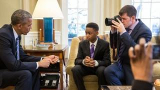 Brandon Stanton (seated on the right) has previously been invited to the White House for his fundraising for education.
