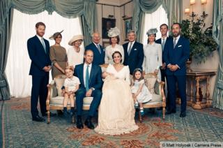 Royal family pose for photograph at Prince Louis' christening