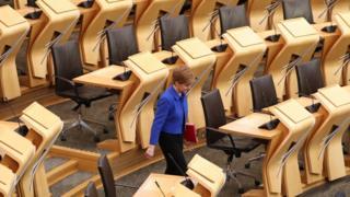 Nicola Sturgeon in empty chamber