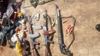 Guns, bullets and army clothe