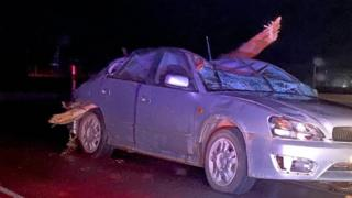 A tree branch speared through the top of a car after a storm in Western Australia