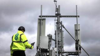 Man with a 5G mast