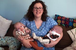 Claire Weir with twins Imogen and Annabelle
