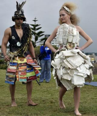 """Models at the """"Sculpture by the Sea"""" exhibition in Australia."""
