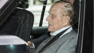 Duke of Edinburgh leaving King Edward VII hospital in west London