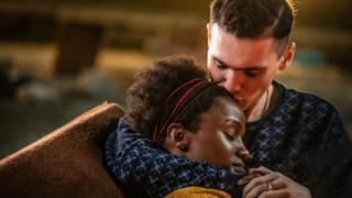 Masali Baduza as Sephy Hadley and Jack Rowan as Callum McGregor in Noughts and Crosses