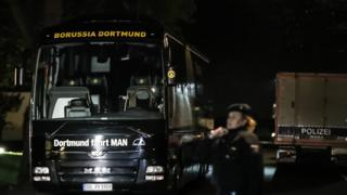 Damaged Borussia Dortmund bus on 11 April