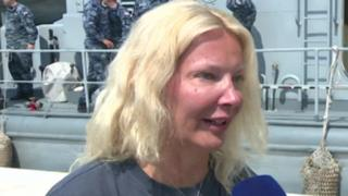 British woman rescued from sea after cruise ship fall speaks to reporters in Croatia on 19 August 2018