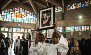 Mourners at a church in Nairobi, Kenya - Wednesday 23 January 2019