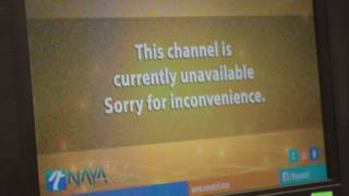 """A screen saying: """"This channel is currently unavailable. Sorry for inconvenience."""""""
