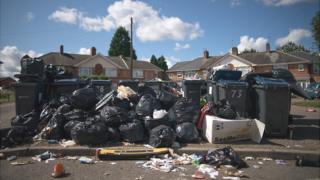Uncollected waste in Alum Rock, Birmingham