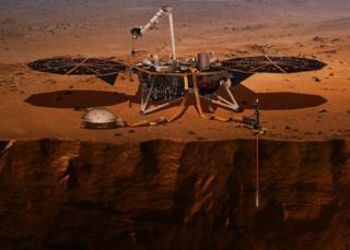 Ilustración de la sonda MArs InSight