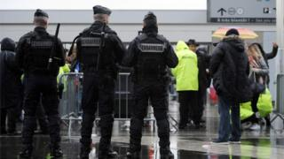 French police outside football stadium