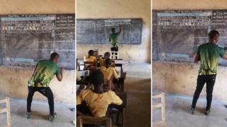 El profesor, en clase, frente a una pizarra en la que ha dibujado la pantalla de un computador.