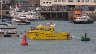 Bumblebee catamaran in St Peter Port Harbour, Guernsey