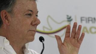 Colombian President Juan Manuel Santos in press conference
