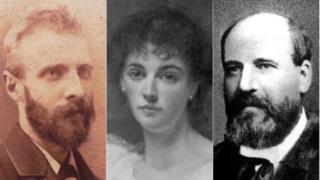 وليام هنري كويليام (يسار) وليدي إيفيلين كوبولد، وروبرت ستانلي
