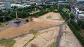 Aerial shot of Glasgow Green