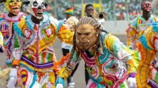 in_pictures Traditional dancers in masks during independence celebrations in Kumasi, Ghana - Friday 6 March 2020