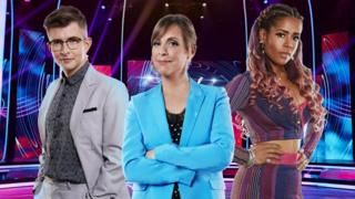 Judges Gareth Malone and singer Kelis with host Mel Giedroyc