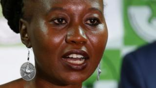 Kenyan Independent Electoral and Boundaries Commission (IEBC) commissioner Roselyn Akombe flanked by chairman Wafula Chebukati, addresses a news conference at their offices in Nairobi, Kenya, July 6, 2017