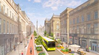 Artist's impression of new Grey Street lay out