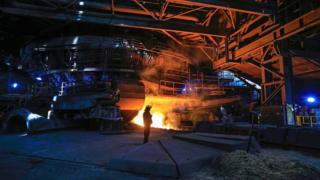 İngiltere'deki British Steel fabrikası