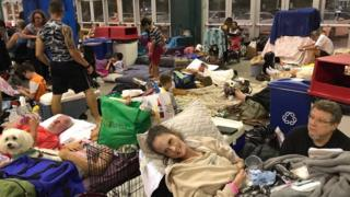 Residents take shelter inside the Germain Arena in Estero, Florida, on 9 September 2017