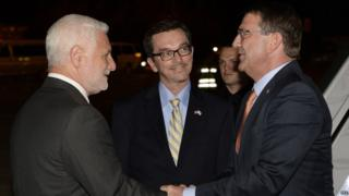 US Defence Secretary Ashton Carter meets officials on arriving in Tel Aviv