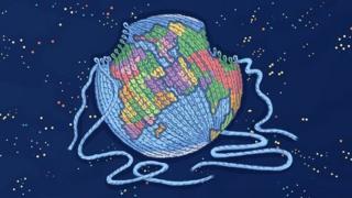 毛線織成的地球