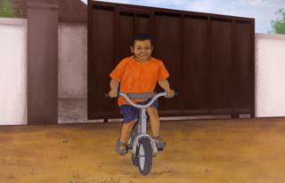 Ilustración de Samuel Abdulraheem con 7 años en una bici.